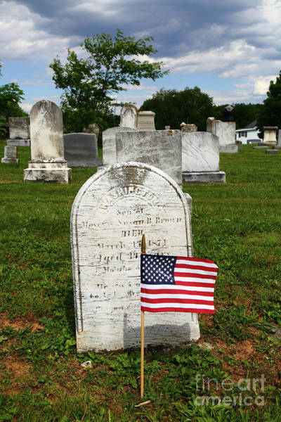 Photograph - Stars And Stripes In Uniontown Cemetery Maryland by James Brunker