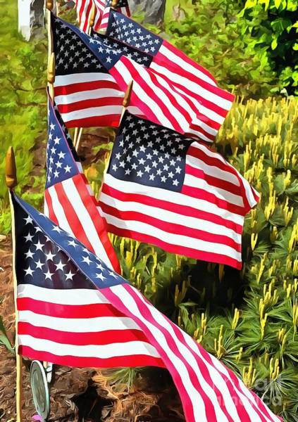 Flying The Flag Wall Art - Photograph - Stars And Stripes by Janine Riley