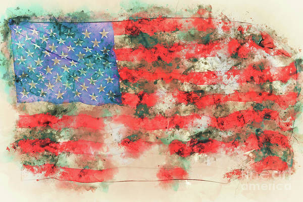 Patriotism Painting - Stars And Stripes Watercolor by Delphimages Photo Creations