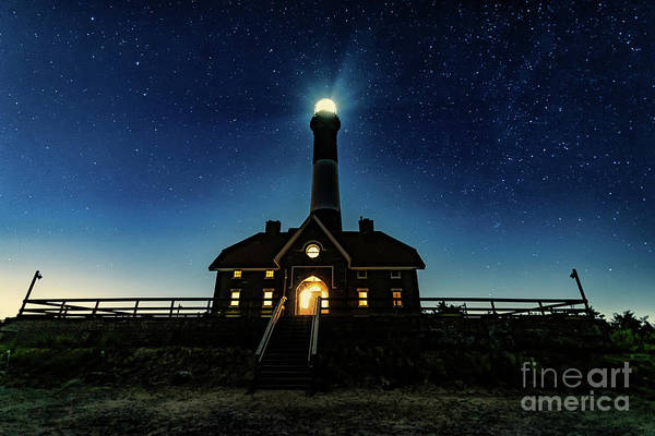 Photograph - Stars At The Fire Island Lighthouse Lit Up At Night by Alissa Beth Photography