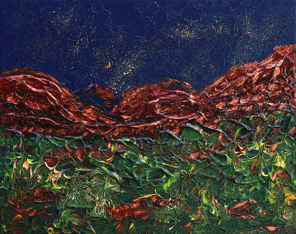 Wall Art - Painting - Stars Falling On Copper Moon by Donna Blackhall