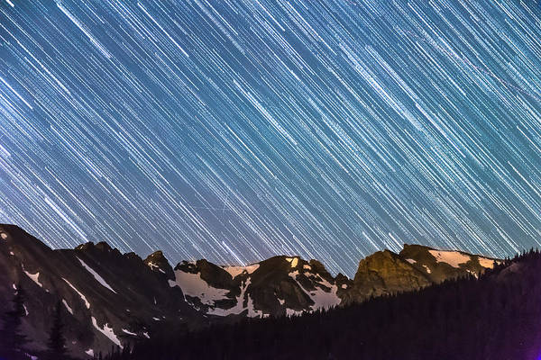 Roosevelt National Forest Photograph - Stars Raining Down On The Colorado Indian Peaks by James BO Insogna
