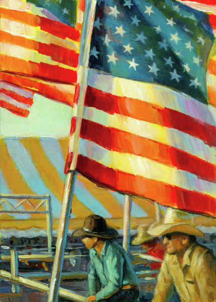 Painting - Stars, Stripes, And Cowboys Forever by Lesley Spanos