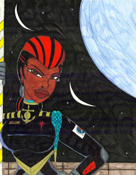 Space Station Mixed Media - Starship Captain Veronica Daring by Ronald Woods