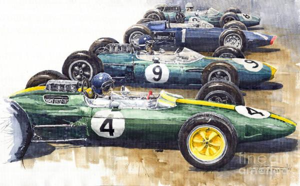 Motorsport Painting - 1963 Start British Gp  - Lotus  Brabham  Brm  Brabham by Yuriy Shevchuk