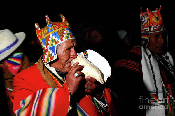 Aymara Wall Art - Photograph - Start Of Aymara New Year Ceremonies Bolivia by James Brunker