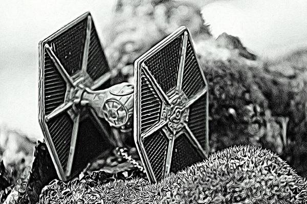 Galactic Empire Photograph - #starwars Tie Fighter Etching by Modern Art