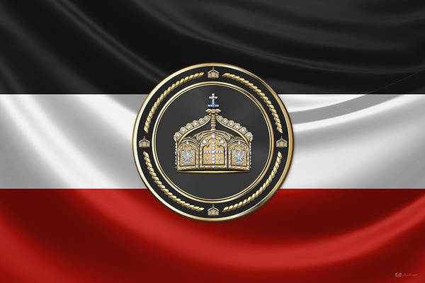 Digital Art - State Crown Of The German Empire Over Flag Of The German Empire by Serge Averbukh