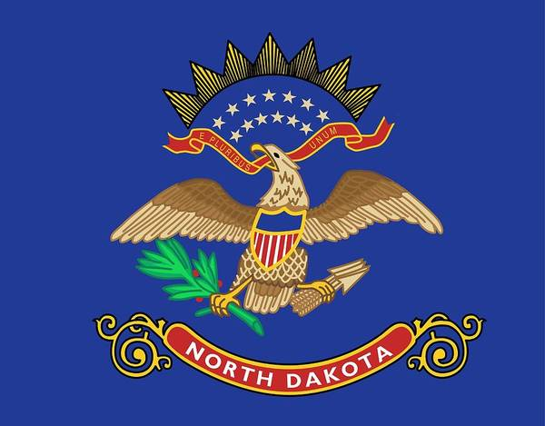 North American Birds Painting - State Flag Of North Dakota by American School