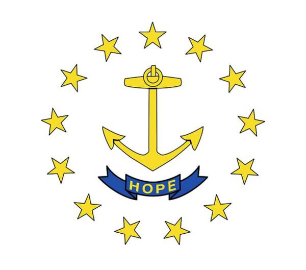 Yellow Ribbon Painting - State Flag Of Rhode Island by American School