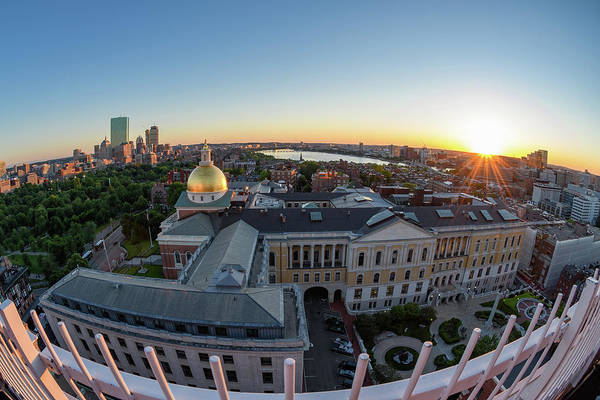 Photograph - State House,fisheye View by Michael Hubley