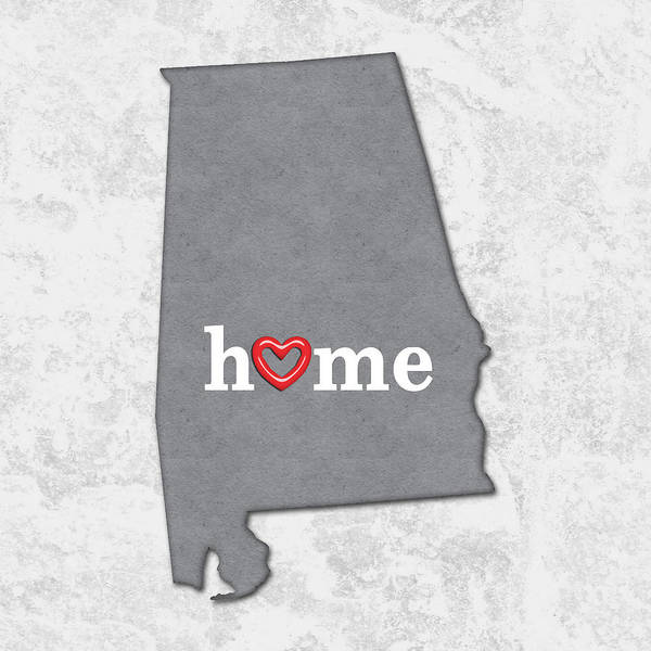 Alabama Painting - State Map Outline Alabama With Heart In Home by Elaine Plesser