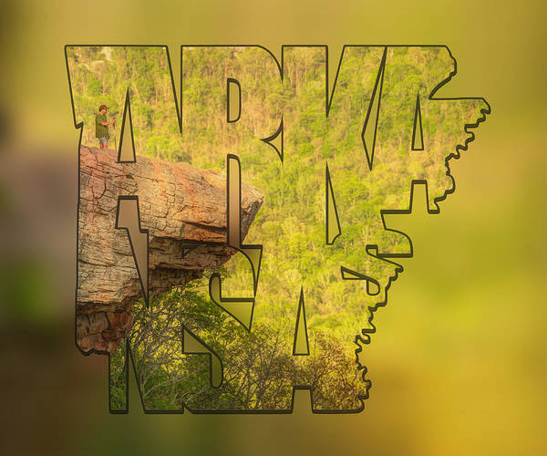 Photograph - State Of Arkansas Typography Blur - Perspective - Whitaker Point Hawksbill Crag by Gregory Ballos