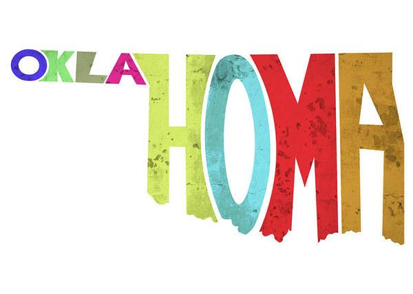 Ok Digital Art - State Of Oklahoma Typography by Ricky Barnard