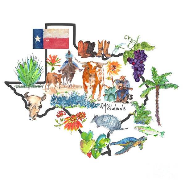 Painting - State Of Texas As I Know It by Kathleen McElwaine
