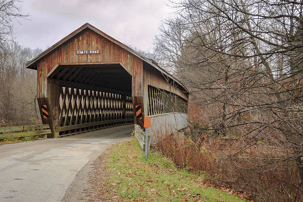 Photograph - State Road Covered Bridge  by Jack R Perry