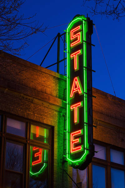 Vintage Neon Sign Photograph - State Theatre - Ithaca by Stephen Stookey