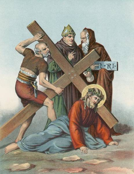 Lamb Of God Wall Art - Painting - Station Ix Jesus Falls Under The Cross The Third Time by English School
