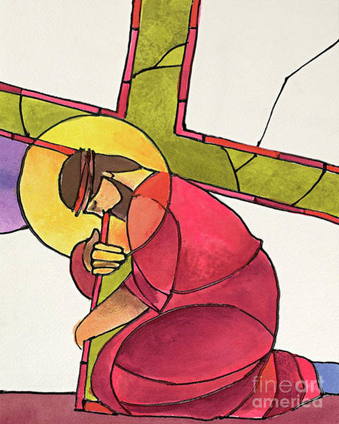 Painting - Stations Of The Cross - 03 Jesus Falls The First Time - Mmjff by Br Mickey McGrath OSFS