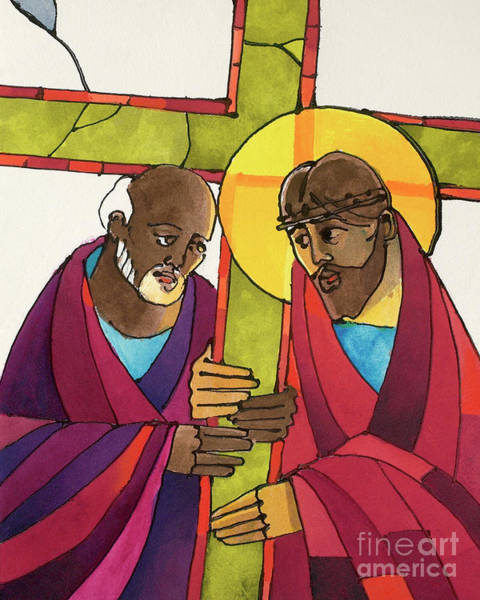 Painting - Stations Of The Cross - 05 Simon Helps Jesus Carry The Cross - Mmshj by Br Mickey McGrath OSFS