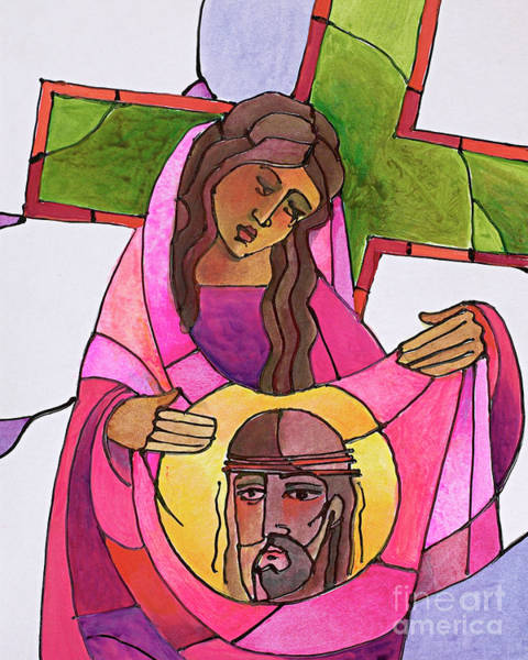 Painting - Stations Of The Cross - 06 St. Veronica Wipes The Face Of Jesus - Mmvew by Br Mickey McGrath OSFS