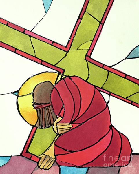 Painting - Stations Of The Cross - 07 Jesus Falls A Second Time - Mmjti by Br Mickey McGrath OSFS