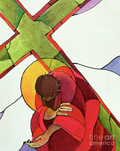 Painting - Stations Of The Cross - 09 Jesus Falls A Third Time - Mmjet by Br Mickey McGrath OSFS