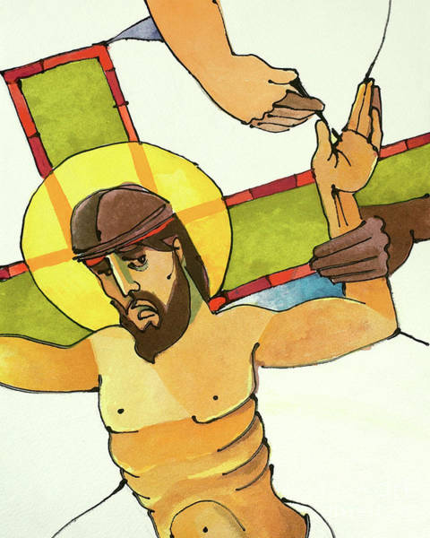 Painting - Stations Of The Cross - 11 Jesus Is Nailed To The Cross - Mmjna by Br Mickey McGrath OSFS