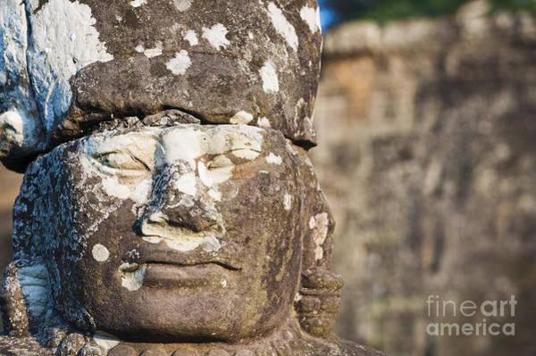 Adorn Photograph - Statue At Angkor Thom by Bill Brennan - Printscapes