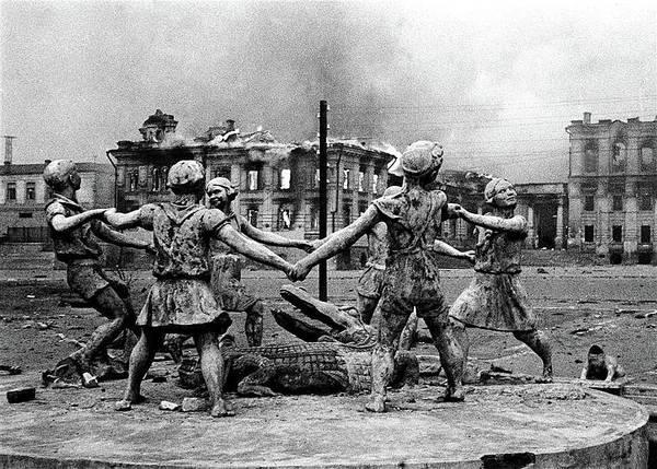 Statue Of Children After Nazi Airstrikes Center Of Stalingrad 1942 Art Print