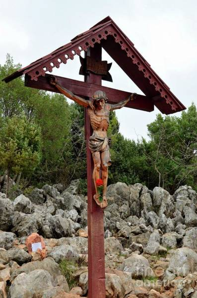 Photograph - Statue Of Christ On Cross At Medjugorje Pilgrim Site Bosnia Herzegovina by Imran Ahmed