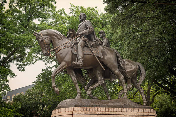 Between The Trees Photograph - Statue Of General Robert E Lee On His Horse Traveller  by Mountain Dreams