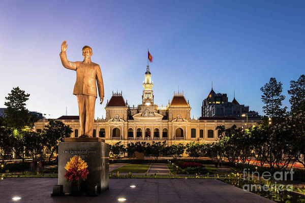 Photograph - Statue Of Ho Chi Minh In Front Of The People's Comittee Building In Saigon by Didier Marti