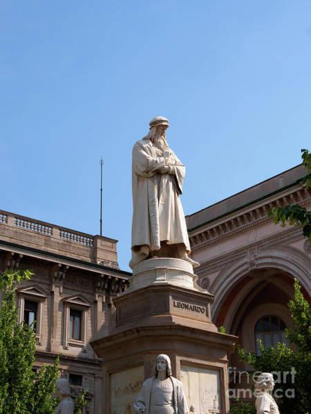 Wall Art - Photograph - Statue Of Leonardo Da Vinci In Piazza Della Scala Milan Italy by Louise Heusinkveld