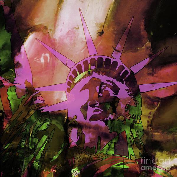 Manhattan Skyline Painting - Statue Of Liberty 77uh by Gull G