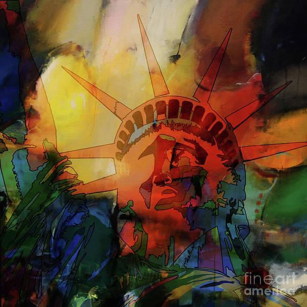 Manhattan Skyline Painting - Statue Of Liberty 77yt by Gull G