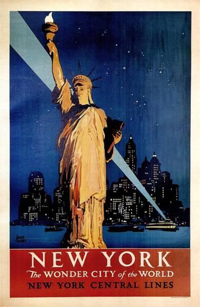 Wall Art - Painting - Statue Of Liberty At Night - New York City Vintage Poster by Studio Grafiikka