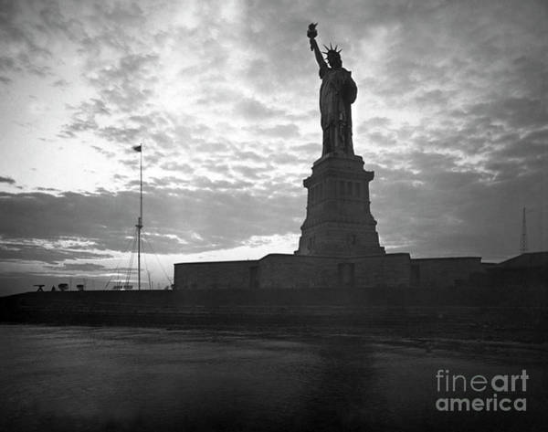 Wall Art - Photograph - Statue Of Liberty At Sunset by American School