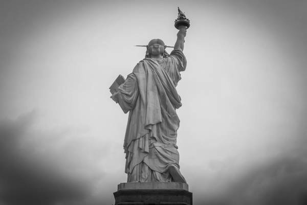 Photograph - Statue Of Liberty Back Black And White by Terry DeLuco