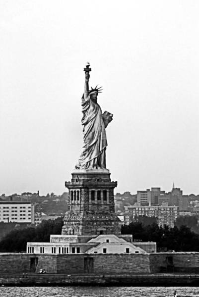 Photograph - Statue Of Liberty Black And White by Kristin Elmquist
