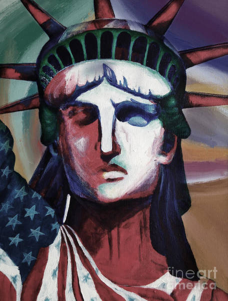 Manhattan Skyline Painting - Statue Of Liberty Hb5t by Gull G