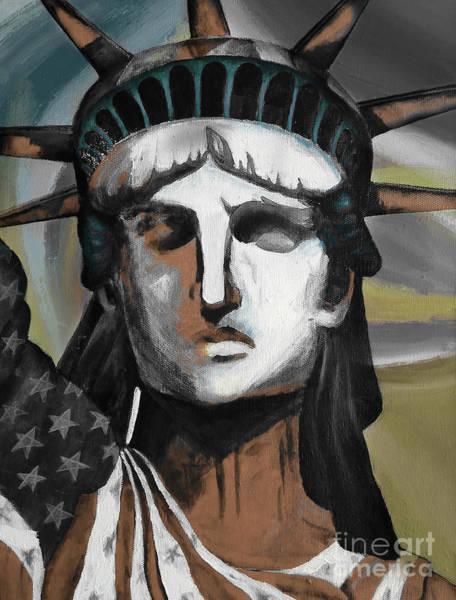 Manhattan Skyline Painting - statue of liberty KJ78 by Gull G