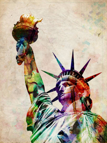 Landmarks Digital Art - Statue Of Liberty by Michael Tompsett