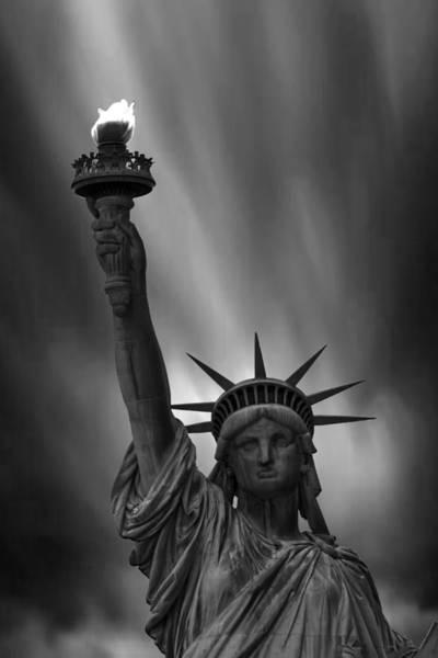 Lady Liberty Photograph - Statue Of Liberty Monochrome by Martin Newman