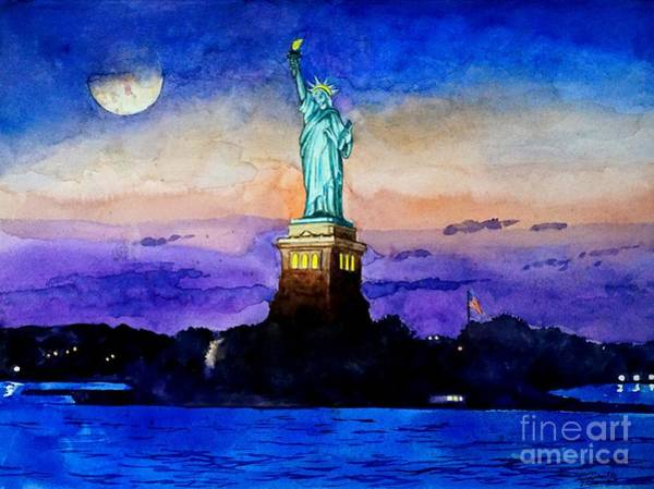 Painting - Statue Of Liberty New York by Christopher Shellhammer