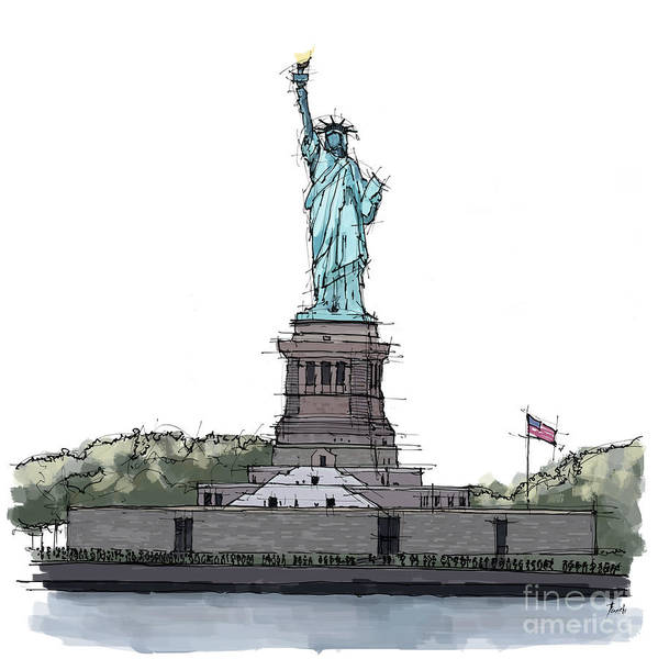 Wall Art - Painting - Statue Of Liberty, New York Sketch by Drawspots Illustrations
