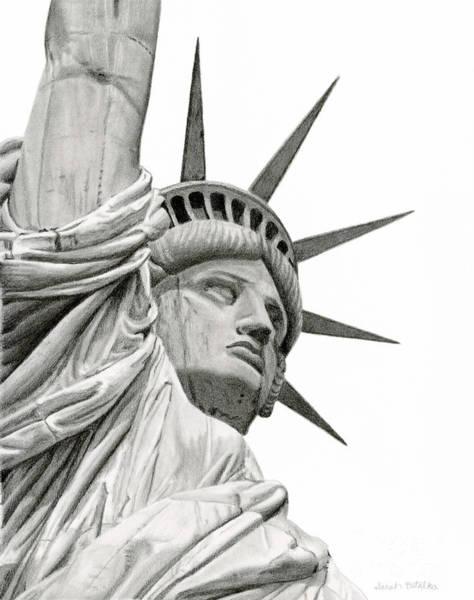 Wall Art - Drawing - Statue Of Liberty by Sarah Batalka