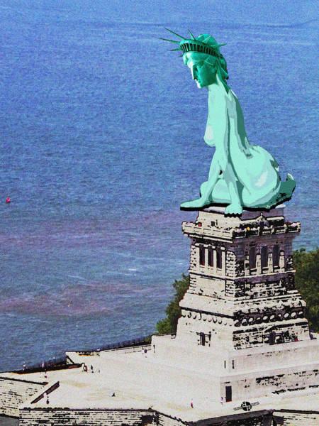 Painting - Statue Of Liberty Seated Grainy Photo by Tony Rubino