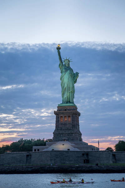 Photograph - Statue Of Liberty - Sunset by Frank Mari