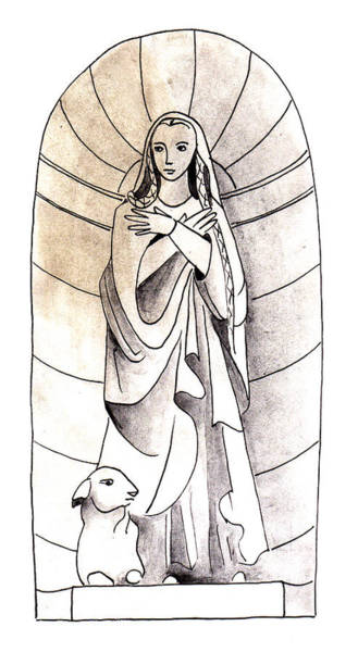 Painting - Statue Of Saint Genevieve by Anna Elkins